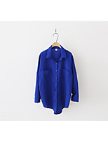 Women's Casual/Daily Simple Shirt,Striped Shirt Collar Long Sleeve Linen Thin