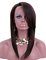 Middle Brown Color Lace Front Wigs Human Hair Straight with Side Bangs 100% Brazilian Virgin Hair Glueless Lace Wigs for Woman