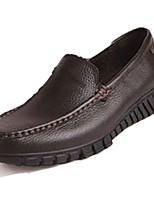 Men's Loafers & Slip-Ons Spring Fall Comfort PU Outdoor Flat Heel Dark Brown Black