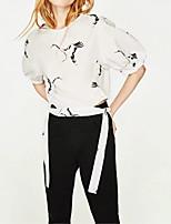 Frauen gehen aus lässigen / täglichen einfachen Straße chic Herbst Winterhemd, solide Hemdkragen lange Ärmel weißes Baumwollmedium