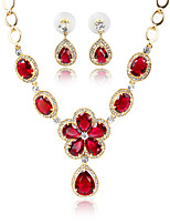 Zircon Crystal Fashion Jewelry sets for women 18k Gold Plated Wedding Jewelry Sets for bridesEarrings  necklace