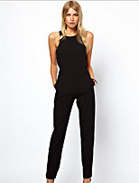 Women's Going out Holiday Sexy Tank Top Pant Suits,Solid Halter Sleeveless Micro-elastic