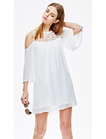 Women's Going out Casual/Daily Beach Simple Street chic Sophisticated A Line Loose Dress,Solid Round Neck Above Knee ½ Length SleeveRayon