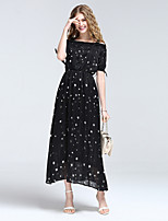 8CFAMILY Women's Going out Casual/Daily Holiday Sexy Boho Street chic A Line DressGalaxy Cowl Maxi Short Sleeve Polyester Summer Mid Rise