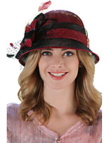 Women's Linen Bowler/Cloche Hat Bucket Hat,Vintage Cute Party Work Patchwork Spring Summer Fall