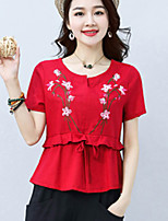Women's Casual/Daily Vintage Simple Summer T-shirt,Solid Embroidered V Neck Short Sleeve Cotton Linen Medium
