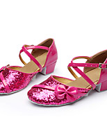 Customizable Women's Dance Shoes Paillette Latin Flats Customized Heel Indoor Fuchsia