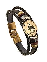 Women's Men's Chain Bracelet Friendship Vintage Leather Round Jewelry For Anniversary Gift Valentine 1pc