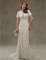 LAN TING BRIDE Sheath / Column Wedding Dress - Elegant & Luxurious Open Back See-Through Floor-length Jewel Lace withDraped Lace Sash /