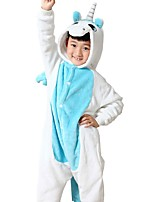Kigurumi Pajamas Unicorn Leotard/Onesie Festival/Holiday Animal Sleepwear Halloween Blue Flannel Cosplay Costumes For KidHalloween