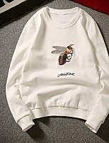 Мужская повседневная / повседневная футболка леопард на шею неэластичный хлопок длинный рукав весна