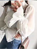 Для женщин На каждый день Рубашка Вырез под горло,Простое Однотонный Длинный рукав,Другое