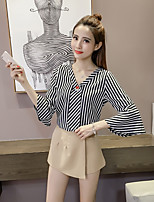 Women's Casual/Daily Simple Blouse,Striped V Neck ¾ Sleeve Cotton