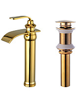 Centerset Waterfall with  Ceramic ValveGold , Bathroom Sink Faucet