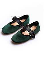 Girls' Flats First Walkers Leatherette Spring Fall Casual Walking Magic Tape Low Heel Army Green Gray Black Flat