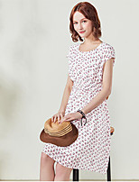 I BELIEVE YOUWomen's Daily Shift DressFloral Round Neck Above Knee Short Sleeve Cotton Polyester Summer Mid Rise Micro-elastic Thin