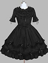 One-Piece/Dress Gothic Lolita Rococo Princess Cosplay Lolita Dress Black Lace Vintage Cap Short Sleeve Knee-length Dress For Cotton Blend