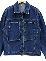 Women's Going out Simple Fall Denim Jacket,Solid Shawl Lapel Long Sleeve Short Others