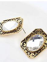 Mulheres Casal Brincos Curtos Imitação de DiamanteBásico Com Logotipo Gemas Geométrico Amizade Turco Góticas Jóias filme Jóias de Luxo