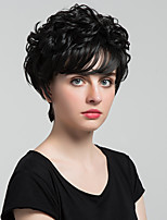 Элегантные черные пушистые натуральные короткие завитки человеческие волосы парики