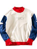 Men's Sports Sweatshirt Color Block Round Neck Micro-elastic Polyester Long Sleeve Spring Summer