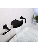 Widespread Waterfall with  Ceramic Valve Two Handles Three Holes for  Black , Bathtub Faucet