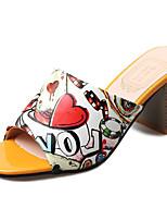 Damen Slippers & Flip-Flops PU Sommer Walking Kombination Flacher Absatz Rot Grün 5 - 7 cm
