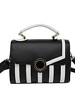 Women Tote PU All Seasons Formal Casual Event/Party Wedding Office & Career Flap Clasp Lock Black/White