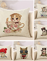 Set Of 6 Cartoon Cute Kitty Pattern Pillow Cover Sofa Cushion Cover Creative Cotton/Linen Pillow Case