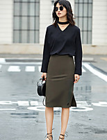 AMIIWomen's Casual/Daily Knee-length Skirts Bodycon Solid Summer