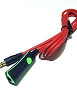 Cable de auriculares con control remoto de micrófono hablar 3.5mm macho a macho cordones de audio estéreo 120cm rojo