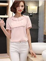 Для женщин На каждый день Лето Блуза Вырез под горло,Простое Однотонный С короткими рукавами,Хлопок,Средняя Сетчатая