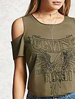 Tee-shirt Femme,Couleur Pleine Imprimé Sexy simple Manches Courtes Col Arrondi Soie Coton Transparent Opaque