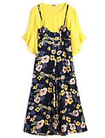 Для женщин На каждый день Праздник Лето Как у футболки Брюки Костюмы Круглый вырез,Милые Цветочный принт