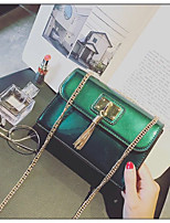 Women Shoulder Bag PU All Seasons Event/Party Casual Office & Career Rectangle Tassel Magnetic Wine Dark Green Apricot Black Blue