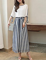 Women's Casual/Daily Simple Blouse Pant Suits,Striped Round Neck Half Sleeve Inelastic