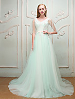 Formal Evening Wedding Party Dress - Elegant Lace-up A-line V-neck Court Train Lace Satin Tulle with