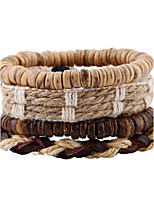 Vintage Linen Coconut Shell Multilayer Woven Bracelet