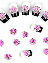 10 pcs Pink Crown Super Shiny Nail Decorations