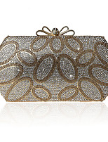 Women Evening Bag Polyester All Seasons Formal Event/Party Wedding Minaudiere Crystal/ Rhinestone Clasp Lock Silver Black Gold