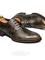 Men's Sneakers Comfort Cowhide Spring Casual Gold Black Gray Flat