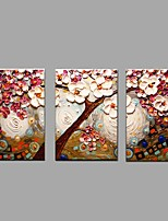 Hand Painted Oil Painting Modern Knife Tree Flower 3 Piece/set Wall Art with Stretched Framed Ready to Hang