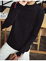Men's Casual Short Pullover,Solid Crew Neck Long Sleeve Wool Blend Fall Medium Micro-elastic