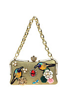 Women Evening Bag PU All Seasons Wedding Event/Party Formal MinaudiereRhinestone Satin Flower Pearl Detailing Metal Chain Floral