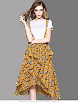 OYCP Women's Daily Contemporary Summer Blouse Skirt Suits,Solid Floral Round Neck Short Sleeve