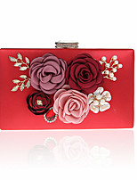 Women Evening Bag PU Polyester All Seasons Wedding Casual Office & Career Baguette Rhinestone Satin Flower Clasp LockRuby Fuchsia Black