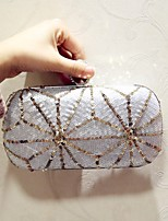 Women Evening Bag PU All Seasons Event/Party Party & Evening Club Baguette Sequined Magnetic Silver Black