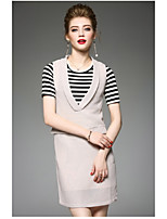 OYCP Women's Daily Contemporary Summer Blouse Dress SuitsSolid Striped Round Neck Short Sleeve