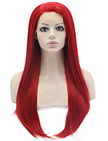 Red Color Synthetic Lace Front Wigs Straight Hair Heat Resistant Fiber Hair Wig for Woman