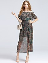 8CFAMILY Women's Daily Casual Going out Casual/Daily Cute Street chic Sophisticated A Line DressFloral Print printing Boat Neck Midi Short Sleeve